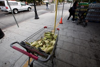 A cart full of corn sits on the sidewalk for people to see on Calle Willow in San Jose, Calif., on Tuesday, Aug. 14, 2018. (Randy Vazquez/ Bay Area News Group)