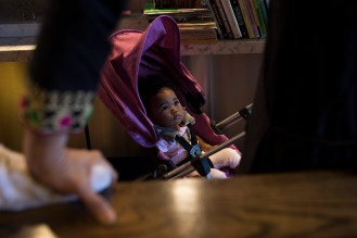 Maajida Davis, 1, center, sits in her stroller while her grandmother Rachel Reese talks with Zareen Khan at Zareen's Restaurant in Palo Alto, Calif., on Tuesday, July 17, 2018. Khan, the owner of the establishment, offers below-market rent to four of her key, full time employees. It's a unique way for a small business to keep its employees. (Randy Vazquez/ Bay Area News Group)