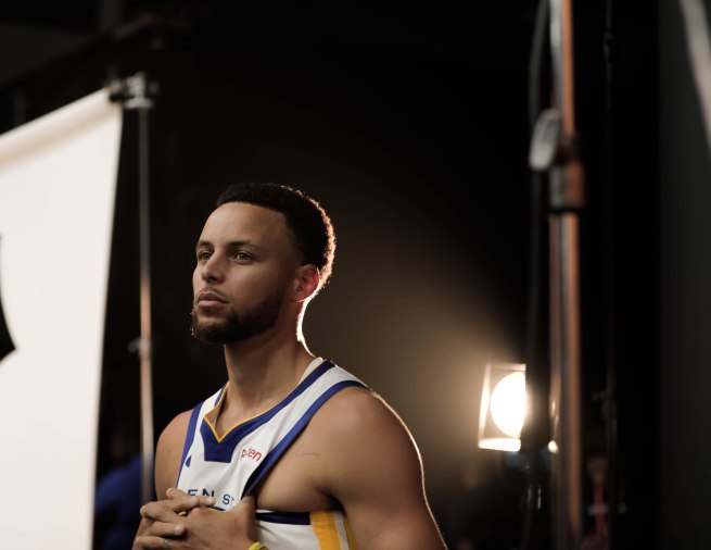 Stephen Curry poses for a picture during Golden State Warriors Media Day in Oakland, Calif., on Monday, Sep. 24, 2018. (Randy Vazquez/Bay Area News Group)