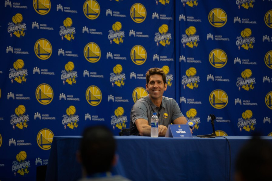 General manager Bob Myers talks to the media during Golden State Warriors Media Day in Oakland, Calif., on Monday, Sep. 24, 2018. (Randy Vazquez/Bay Area News Group)