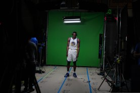 Kevon Looney smiles during Golden State Warriors Media Day in Oakland, Calif., on Monday, Sep. 24, 2018. (Randy Vazquez/Bay Area News Group)