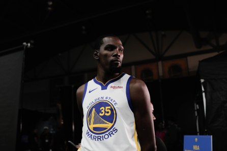 Kevin Durant during Golden State Warriors Media Day in Oakland, Calif., on Monday, Sep. 24, 2018. (Randy Vazquez/Bay Area News Group)