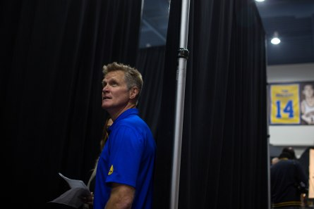 Head coach Steve Kerr before a press conference during Golden State Warriors Media Day in Oakland, Calif., on Monday, Sep. 24, 2018. (Randy Vazquez/Bay Area News Group)