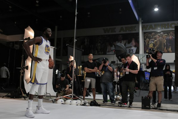 Draymond Green, left, poses for a photo during Golden State Warriors Media Day in Oakland, Calif., on Monday, Sep. 24, 2018. (Randy Vazquez/Bay Area News Group)