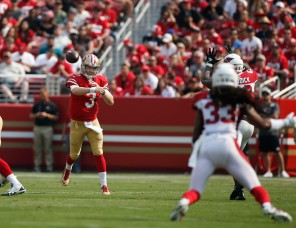 San Francisco 49ers starting quarterback C.J. Beathard (3), center, throws a pass in the first quarter of his teams' game versus the Arizona Cardinals at Levi's Stadium in Santa Clara, Calif., on Sunday, Oct. 7, 2018.(Randy Vazquez/Bay Area News Group)