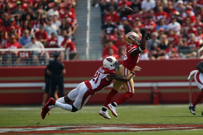 San Francisco 49ers' Pierre Garcon (15), right, almost makes a catch while being defended by Arizona Cardinals' Patrick Peterson (21), left, in the first quarter of their game at Levi's Stadium in Santa Clara, Calif., on Sunday, Oct. 7, 2018.(Randy Vazquez/Bay Area News Group)