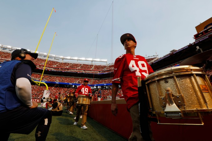 Drummers walk along the end zone during the San Francisco 49ers game at Levi's Stadium in Santa Clara, Calif., on Sunday, Oct. 7, 2018.(Randy Vazquez/Bay Area News Group)
