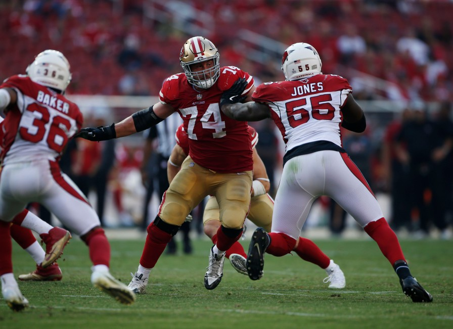 San Francisco 49ers' Joe Staley (74), center, blocks Arizona Cardinals' Chandler Jones (55), right, in the fourth quarter of their game at Levi's Stadium in Santa Clara, Calif., on Sunday, Oct. 7, 2018.(Randy Vazquez/Bay Area News Group)