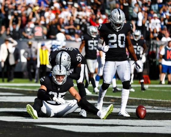 Oakland Raiders' Erik Harris (25) sits on the grass after nearly making an interception versus the Indianapolis Colts in the third quarter of their NFL game at the Coliseum in Oakland, Calif., on Sunday, Oct. 28, 2018. (Randy Vazquez/Bay Area News Group)