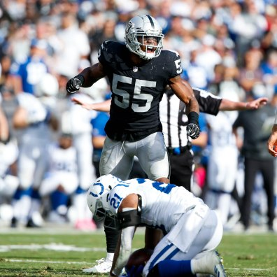 Oakland Raiders' Marquel Lee (55) celebrates after assisting in the tackle of Indianapolis Colts' Nyheim Hines (21) in the fourth quarter of their NFL game at the Coliseum in Oakland, Calif., on Sunday, Oct. 28, 2018. (Randy Vazquez/Bay Area News Group)