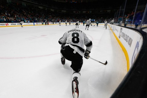 Los Angeles Kings' Drew Doughty (8) gets down on one knee after San Jose Sharks' Joe Thornton (19) scores the game sealing goal during the third period of their game at SAP Center in San Jose, Calif., on Monday, Jan. 7, 2019. The Sharks would go on to win the game 3-1 versus the Kings. (Randy Vazquez/Bay Area News Group)