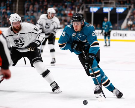 San Jose Sharks' Timo Meier (28), right, skates with the puck during the third period of their game versus the Los Angeles Kings at SAP Center in San Jose, Calif., on Monday, Jan. 7, 2019. The Sharks would go on to win the game 3-1 versus the Kings. (Randy Vazquez/Bay Area News Group)