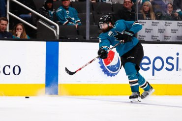 San Jose Sharks' Brent Burns (88) takes a shot during the third period of their game versus the Los Angeles Kings at SAP Center in San Jose, Calif., on Monday, Jan. 7, 2019. (Randy Vazquez/Bay Area News Group)