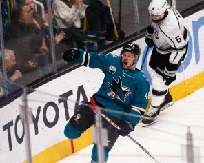 San Jose Sharks' Tomas Hertl (48), left, celebrates after scoring on the Los Angeles Kings during the second period of their game at SAP Center in San Jose, Calif., on Monday, Jan. 7, 2019. (Randy Vazquez/Bay Area News Group)