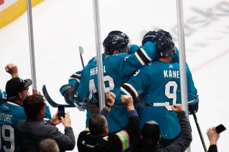 San Jose Sharks' Tomas Hertl (48) celebrates with his teammates after scoring on the Los Angeles Kings during the second period of their game at SAP Center in San Jose, Calif., on Monday, Jan. 7, 2019. (Randy Vazquez/Bay Area News Group)