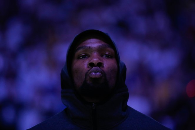 Golden State Warriors' Kevin Durant (35) is photographed before his teams game versus the Los Angeles Lakers at Oracle Arena in Oakland, Calif., on Tuesday, Dec. 25, 2018. (Randy Vazquez/Bay Area News Group)