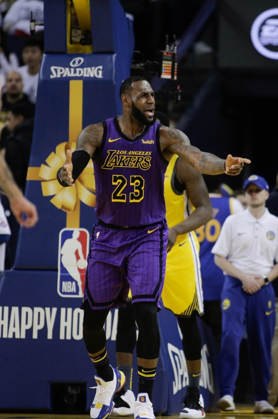 Los Angeles Lakers' LeBron James (23) after being called for a foul during the third quarter of their game versus the Golden State Warriors at Oracle Arena in Oakland, Calif., on Tuesday, Dec. 25, 2018. (Randy Vazquez/Bay Area News Group)