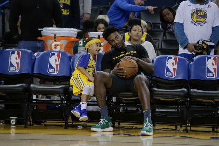 Golden State Warriors' Jordan Bell (2) sits on the bench before his teams game versus the Los Angeles Lakers at Oracle Arena in Oakland, Calif., on Tuesday, Dec. 25, 2018. (Randy Vazquez/Bay Area News Group)