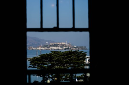 Alcatraz Island is seen through a window at The Cheese School of San Francisco on Thursday, Oct. 18, 2018. (Randy Vazquez/Bay Area News Group)