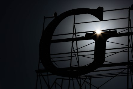 The sun shines above the G of the Ghirardelli sign at Ghirardelli Square in San Francisco on Thursday, Oct. 18, 2018. (Randy Vazquez/Bay Area News Group)