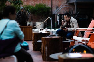 Naruphol Suppapravanich, a tourist from Thailand, drinks a beer in the patio area of San Francisco Brewing Co., in San Francisco on Thursday, Oct. 18, 2018. (Randy Vazquez/Bay Area News Group)