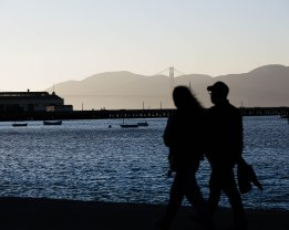 The Golden Gate Bridge is seen in the distance from San Francisco Maritime National Historical Park near Ghirardelli Square in San Francisco on Thursday, Oct. 18, 2018. (Randy Vazquez/Bay Area News Group)