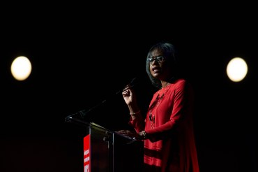 Anita Hill speaks at the YWCA Silicon Valley Inspire Luncheon at the Santa Clara Convention Center in Santa Clara, Calif., on Tuesday, Oct. 30, 2018. (Randy Vazquez/Bay Area News Group)