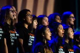 The Choir and String Ensemble members of Notre Dame High School sing at the YWCA Silicon Valley Inspire Luncheon at the Santa Clara Convention Center in Santa Clara, Calif., on Tuesday, Oct. 30, 2018. (Randy Vazquez/Bay Area News Group)