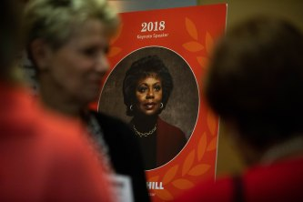 A picture of Anita Hill is displayed outside of the YWCA Silicon Valley Inspire Luncheon at the Santa Clara Convention Center in Santa Clara, Calif., on Tuesday, Oct. 30, 2018. (Randy Vazquez/Bay Area News Group)