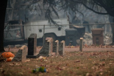 Tombstones are photographed at the Paradise Cemetery District in Paradise, Calif., on Tuesday, Nov. 13, 2018. The Camp Fire burned near but the cemetery was not harmed during the blaze. (Randy Vazquez/Bay Area News Group)