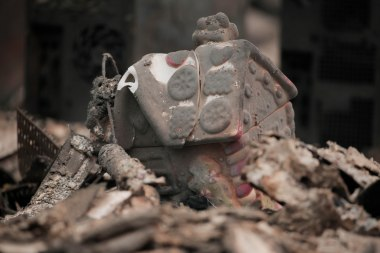 A burned jar in the shape of a house is photographed in the home of Ernest Foss in Paradise, Calif., on Tuesday, Nov. 13, 2018. Foss, who grew up in the Bay Area, was one of the victims of the Camp Fire. (Randy Vazquez/Bay Area News Group)
