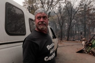 Brad Weldon is photographed outside of his home in Paradise, Calif., on Monday, Nov. 12, 2018. Weldon and friend Michiel McCrary chose not to evacuate during the Camp Fire and fought off flames and kept Brad's home and his 90-year-old mother safe. (Randy Vazquez/Bay Area News Group)
