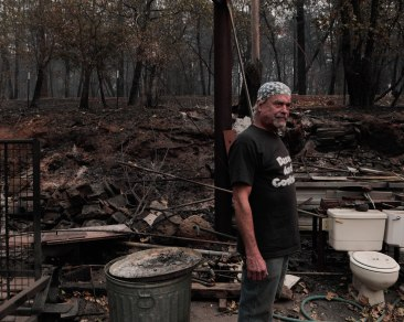 Brad Weldon is photographed near the area where he fought flames off during Camp Fire in Paradise, Calif., on Monday, Nov. 12, 2018. Brad and friend Michiel McCrary chose not to evacuate during the Camp Fire and fought off flames and kept Brad's home and his 90-year-old mother safe. (Randy Vazquez/Bay Area News Group)