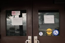 "Signs that say ""Town Hall closed"" are photographed at the Paradise, Calif., town hall on Thursday, Nov. 15, 2018. (Randy Vazquez/Bay Area News Group)"