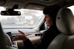 Mayor Jody Jones is photographed on the passenger seat of reporter Julia Prodis Sulek's car on their way to Paradise, Calif., on Wednesday, Nov. 14, 2018. (Randy Vazquez/Bay Area News Group)