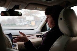 Mayor Jody Jones is photographed on the passenger seat of reporter Julia Prodis Sulek's car on their way to Paradise, Calif., on Wednesday, Nov. 14, 2018. (Randy Vazquez/Bay Area News Group)