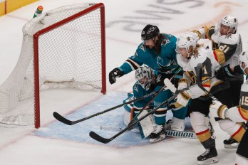 SAN JOSE, CA - APRIL 23: Vegas Golden Knights' William Karlsson (71), center, scores on San Jose Sharks goaltender Martin Jones (31) in the first period of Game 7 of their NHL first round playoff series at the SAP Center in San Jose, Calif., on Tuesday, April 23, 2019. (Randy Vazquez/Bay Area News Group)