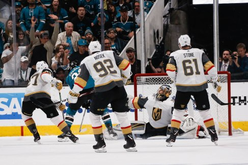 SAN JOSE, CA - APRIL 23: San Jose Sharks' Barclay Goodrow (23) scores the game winning goal past Vegas Golden Knights goaltender Marc-Andre Fleury (29) in the overtime of Game 7 of their NHL first round playoff series at the SAP Center in San Jose, Calif., on Tuesday, April 23, 2019. The Sharks would win the game 5-4 over the Golden Knights. (Randy Vazquez/Bay Area News Group)