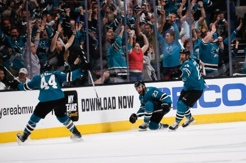 SAN JOSE, CA - APRIL 23: San Jose Sharks' Barclay Goodrow (23), center, celebrates after scoring the game winning goal in overtime of Game 7 of their NHL first round playoff series versus the Vegas Golden Knights at the SAP Center in San Jose, Calif., on Tuesday, April 23, 2019. The Sharks would win the game 5-4 over the Golden Knights. (Randy Vazquez/Bay Area News Group)