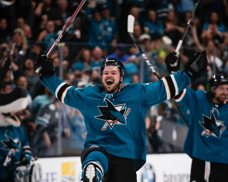 SAN JOSE, CA - APRIL 23: San Jose Sharks' Tomas Hertl (48) celebrates after his team wins in overtime versus the Vegas Golden Knights in Game 7 of their NHL first round playoff series at the SAP Center in San Jose, Calif., on Tuesday, April 23, 2019. (Randy Vazquez/Bay Area News Group)