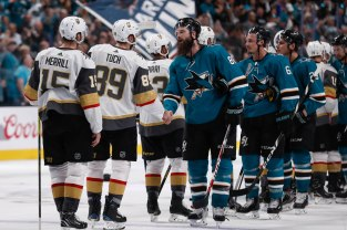 SAN JOSE, CA - APRIL 23: San Jose Sharks' Brent Burns (88), center, shakes hands with Vegas Golden Knights' Alex Tuch (89) after their NHL first round playoff series game at the SAP Center in San Jose, Calif., on Tuesday, April 23, 2019. The Sharks would end up winning the game 5-4 in overtime. (Randy Vazquez/Bay Area News Group)
