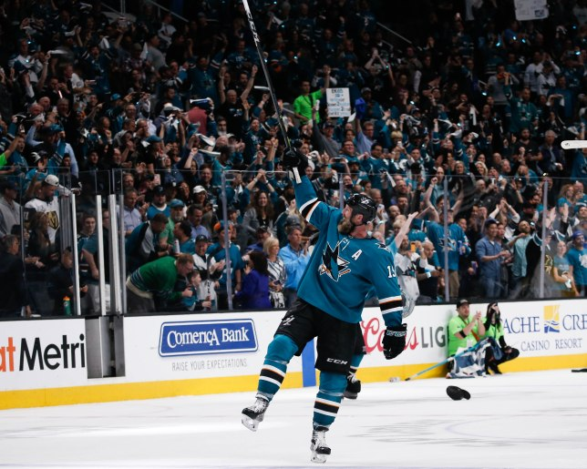 SAN JOSE, CA - APRIL 23: San Jose Sharks' Joe Thornton (19) celebrates after his teams overtime win versus the Vegas Golden Knights in Game 7 of their NHL first round playoff series at the SAP Center in San Jose, Calif., on Tuesday, April 23, 2019. (Randy Vazquez/Bay Area News Group)