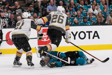 SAN JOSE, CA - APRIL 23: Vegas Golden Knights' Paul Stastny (26) tries to avoid San Jose Sharks' Joe Pavelski (8) who appeared to be unconscious in the third period of Game 7 of their NHL first round playoff series at the SAP Center in San Jose, Calif., on Tuesday, April 23, 2019. (Randy Vazquez/Bay Area News Group)