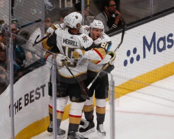 SAN JOSE, CA - APRIL 23: Vegas Golden Knights' William Karlsson (71) celebrates with teammates after scoring in the first period of Game 7 of their NHL first round playoff series versus the San Jose Sharks at the SAP Center in San Jose, Calif., on Tuesday, April 23, 2019. (Randy Vazquez/Bay Area News Group)