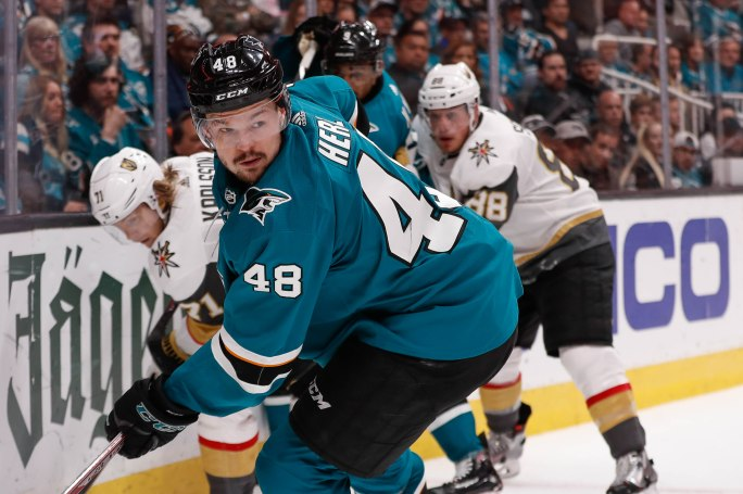 SAN JOSE, CA - APRIL 23: San Jose Sharks' Tomas Hertl (48), skates away from a pair of Vegas Golden Knights defenders in the third period of Game 7 of their NHL first round playoff series at the SAP Center in San Jose, Calif., on Tuesday, April 23, 2019. (Randy Vazquez/Bay Area News Group)