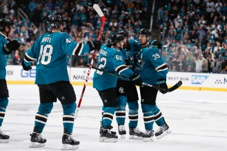 SAN JOSE, CA - APRIL 23: San Jose Sharks' Logan Couture (39), right, celebrates with his teammates after scoring versus the Vegas Golden Knights in the third period of Game 7 of their NHL first round playoff series at the SAP Center in San Jose, Calif., on Tuesday, April 23, 2019. (Randy Vazquez/Bay Area News Group)