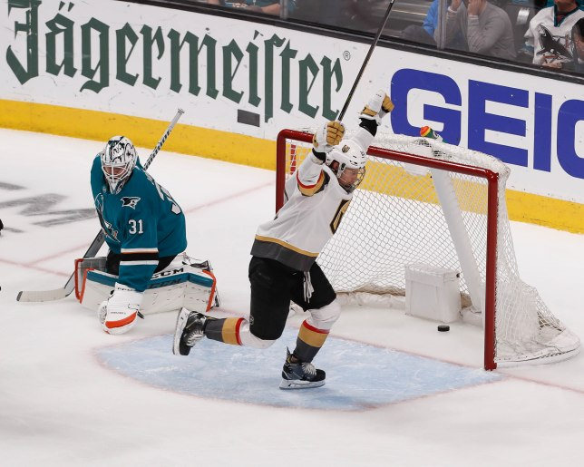 SAN JOSE, CA - APRIL 23: Vegas Golden Knights' Cody Eakin (21), right, celebrates after scoring on San Jose Sharks goaltender Martin Jones (31), left, in the second period of Game 7 of their NHL first round playoff series at the SAP Center in San Jose, Calif., on Tuesday, April 23, 2019. (Randy Vazquez/Bay Area News Group)