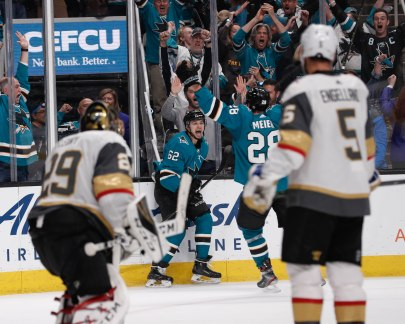 SAN JOSE, CA - APRIL 23: San Jose Sharks' Kevin Labanc (62), celebrates after scoring his teams fourth goal versus the Vegas Golden Knights in the third period of Game 7 of their NHL first round playoff series at the SAP Center in San Jose, Calif., on Tuesday, April 23, 2019. (Randy Vazquez/Bay Area News Group)