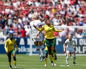 United States midfielder Julie Ertz (8), left, jumps up for a header with South Africa's Refiloe Jane (15), right, during the first half of their friendly game at Levi's Stadium in Santa Clara, Calf., on Sunday, May 12, 2019. (Randy Vazquez/Bay Area News Group)