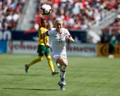 United states forward Megan Rapinoe (15) runs after a ball during the second half of her teams friendly game versus South Africa at Levi's Stadium in Santa Clara, Calf., on Sunday, May 12, 2019. (Randy Vazquez/Bay Area News Group)